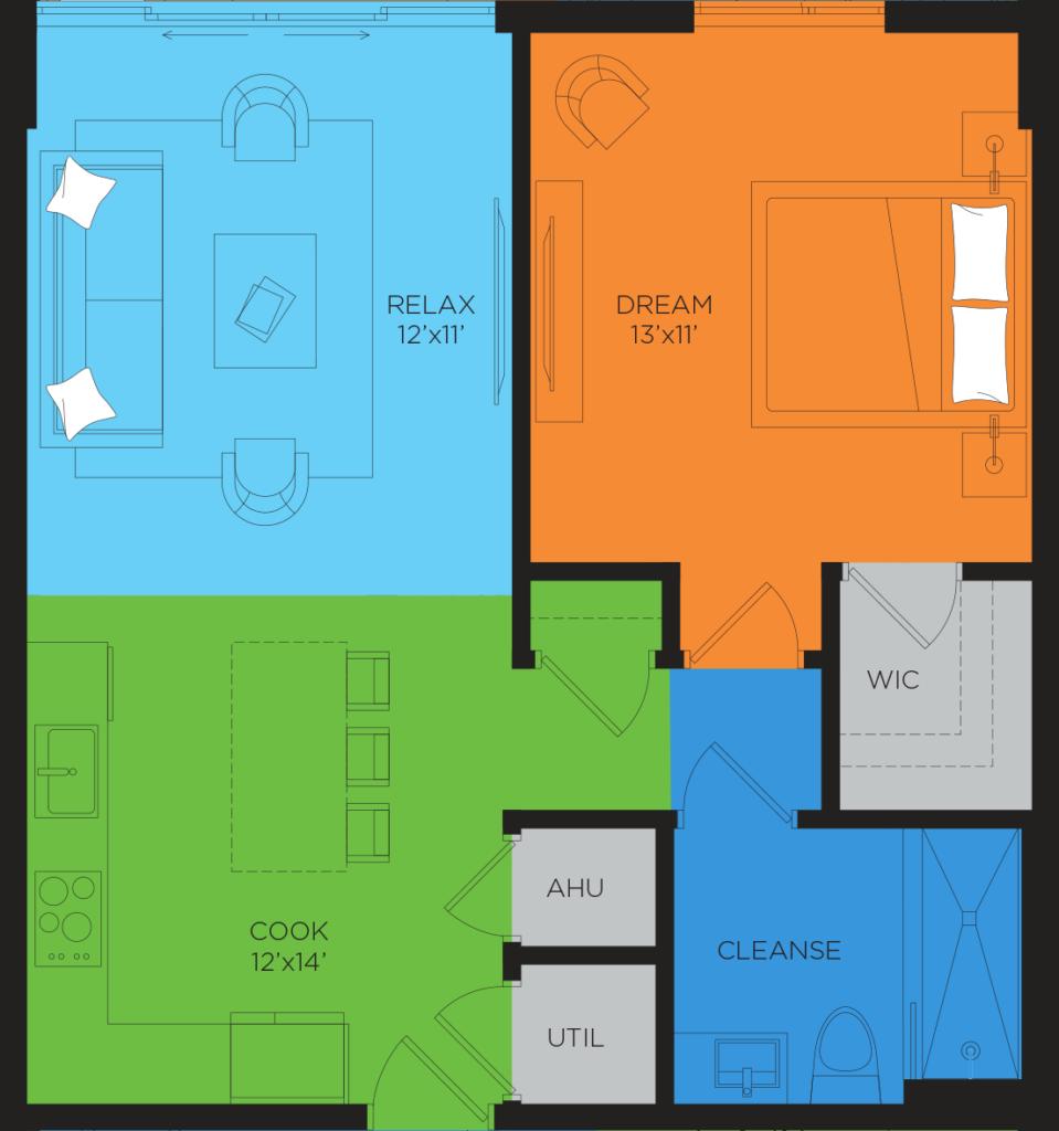 B1.2 1 Bedroom Floor Plan
