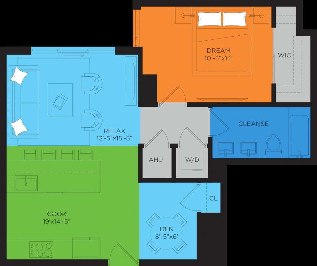 B2 1 Bedroom Floor Plan