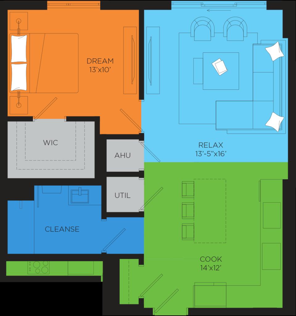 B3 1 Bedroom Floor Plan