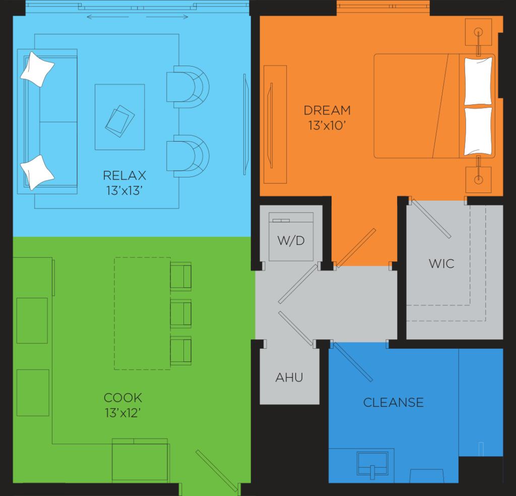 B4.1 1 Bedroom Floor Plan
