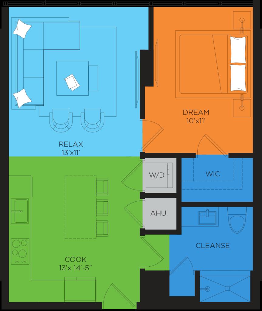 B5.4 1 Bedroom Floor Plan