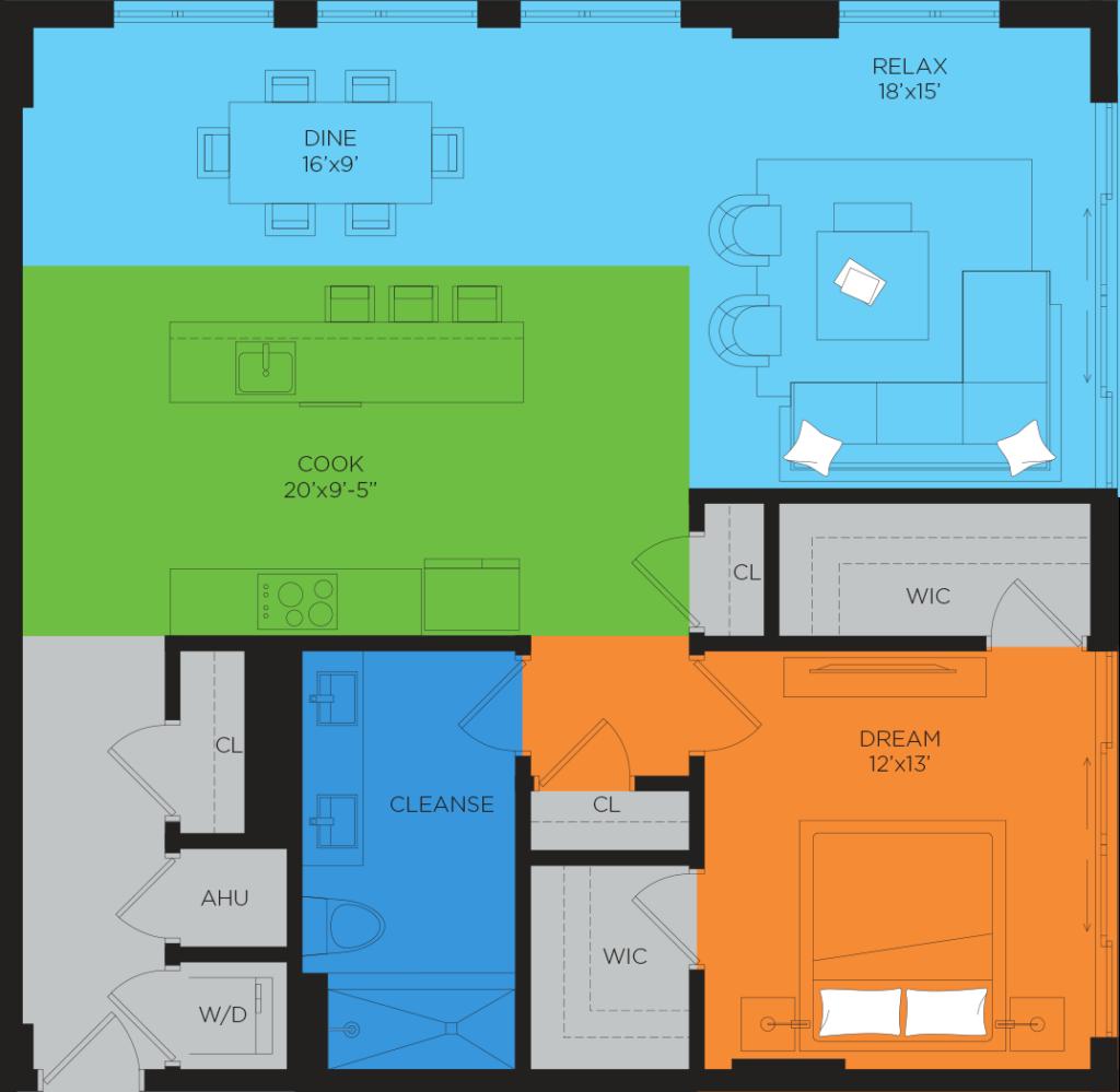 B6 1 Bedroom Floor Plan