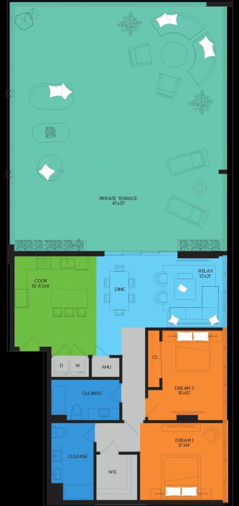 D2 2 Bedroom Floor Plan