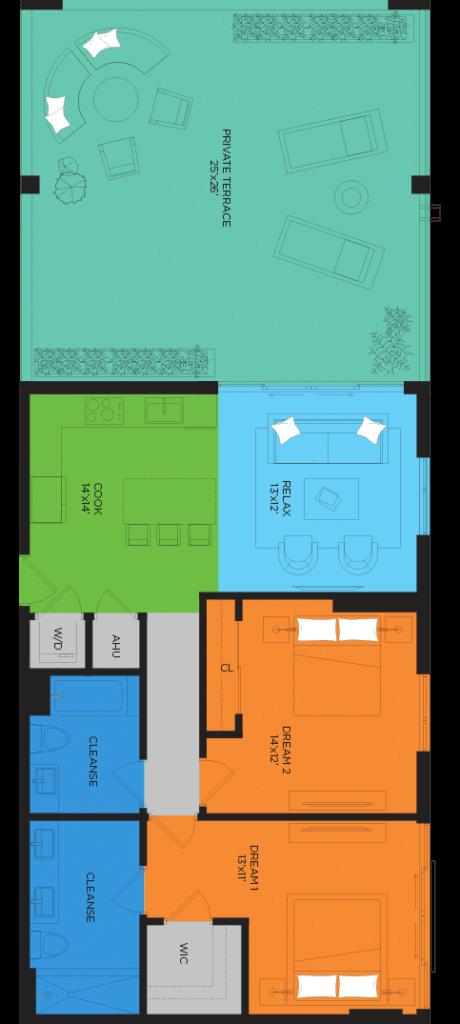 D4 2 Bedroom Floor Plan