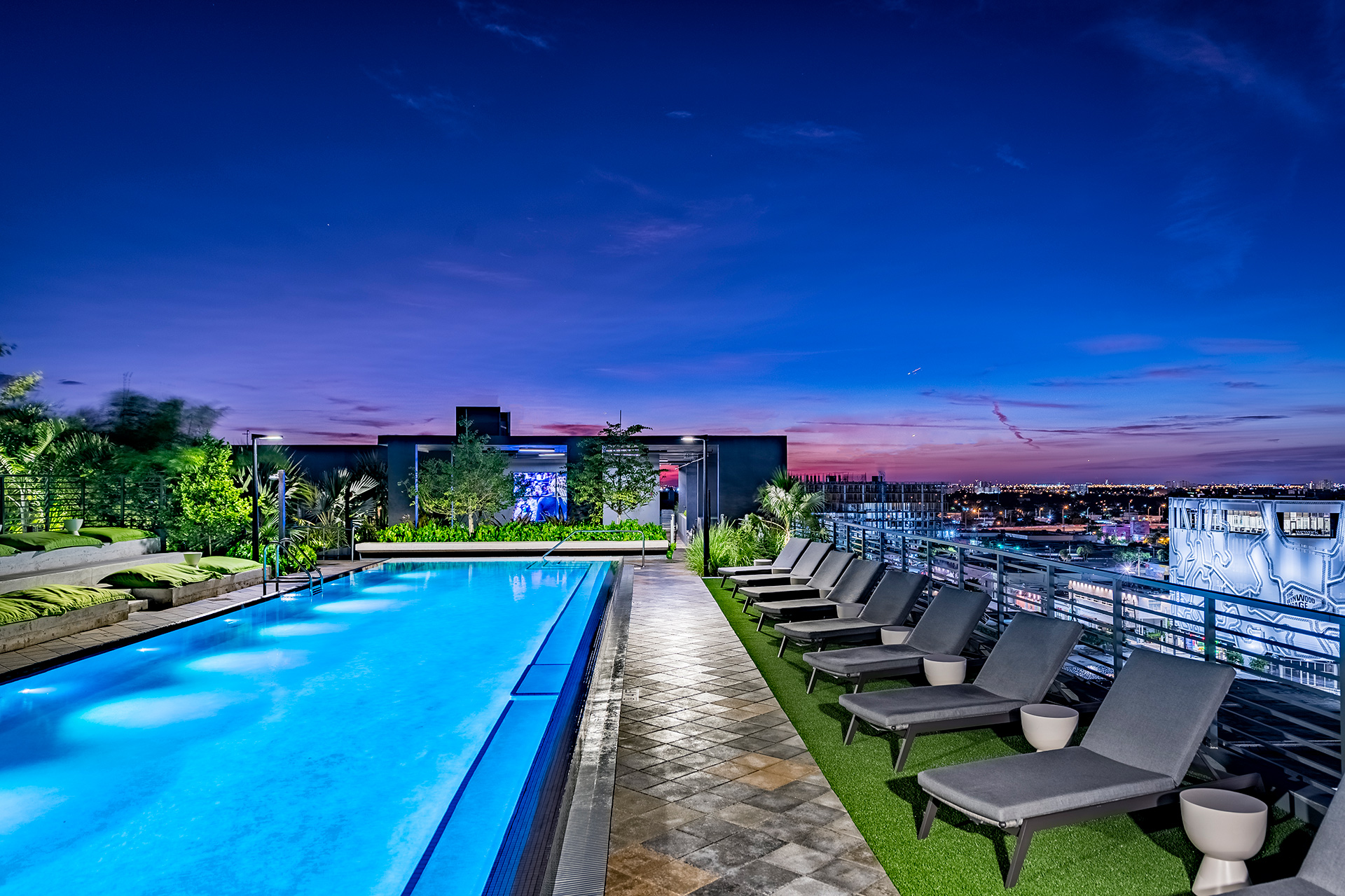 rooftop pool night view